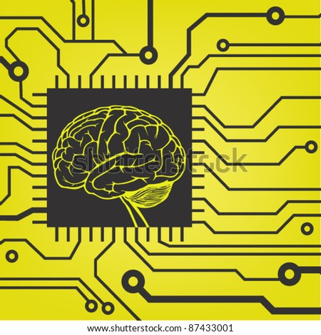 circuit style with brain model in black and yellow color. vector background - stock vector