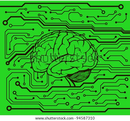 circuit style with brain model. vector background - stock vector