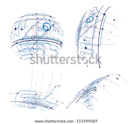 Circuit vector abstract set - stock vector