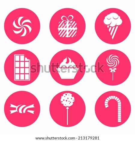Circular and monochrome candy icons with lollipops, ice cream, bubble gum, gift and several candies - stock vector