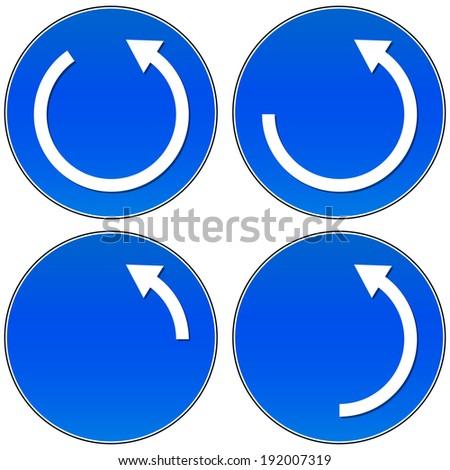 Circular arrow button set (counter clock-wise - can be mirrored) - stock vector