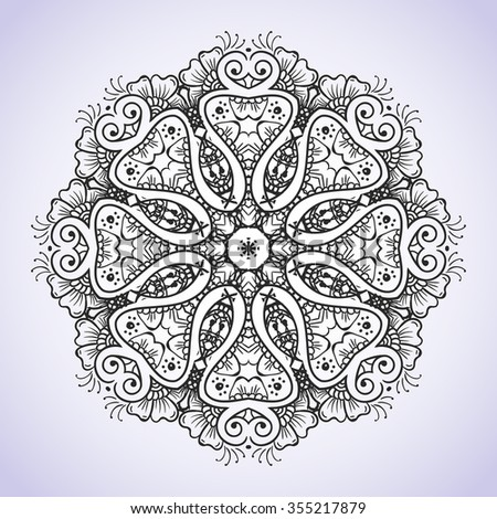 Circular black and white floral ornament Indian Hand drawn henna mehndi tattoo vector etnnik decor meditation on an isolated background