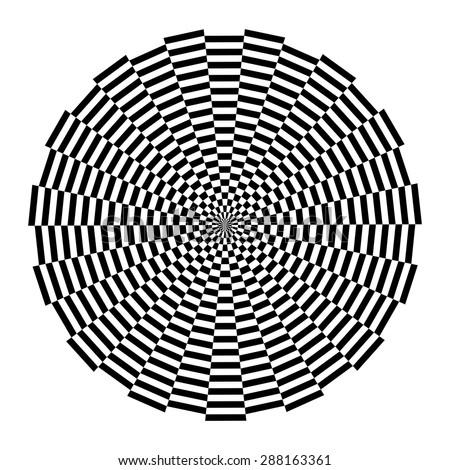 Circular chessboard, optical illusion, psychedelic design, mandala vector - stock vector