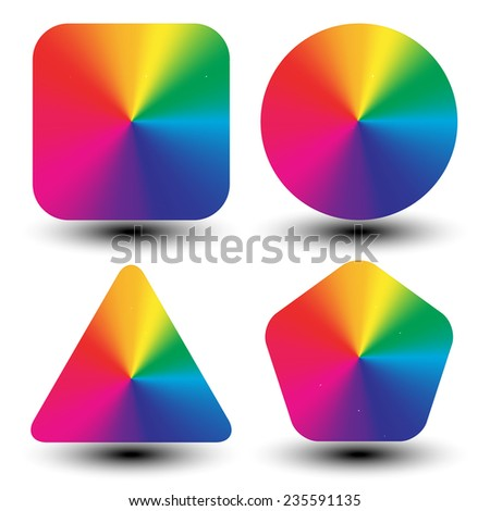Circular color wheels mapped with different shapes (conical gradient, eps10 shadows) - stock vector