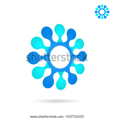 Circular connection illustration, 2d and 3d vector icon, eps 10 - stock vector