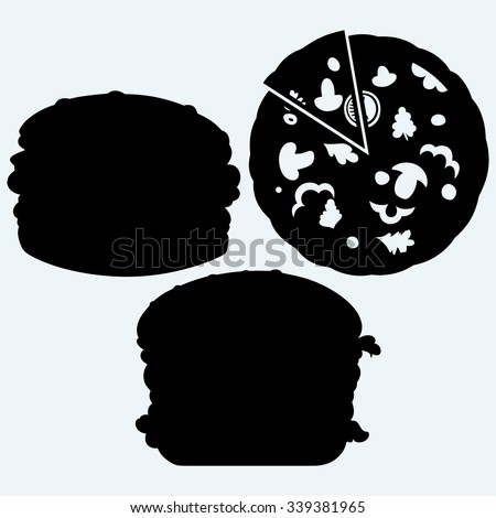 Circular cut pizza and hamburger. Isolated on blue background. Vector silhouettes - stock vector
