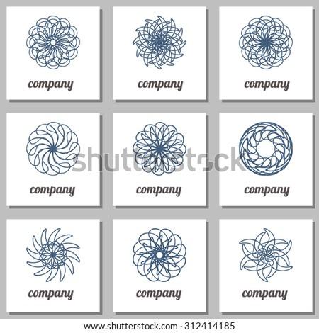 Circular design elements spirograph. Geometric logo template set. Vector ornamental symbols.  - stock vector