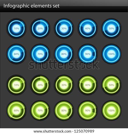 Circular diagrams and percent vector design elements - stock vector