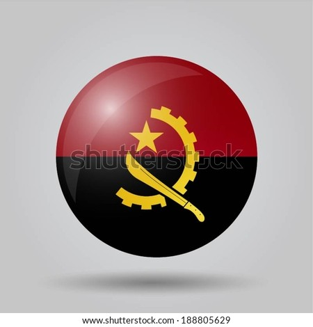 Circular flag with shadow and 3D effect, on grey background - Angola - stock vector