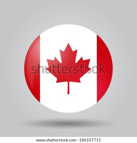 Circular flag with shadow and 3D effect, on grey background - Canada - stock vector