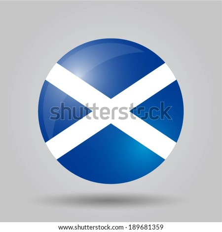 Circular flag with shadow and 3D effect, on grey background - Scotland - stock vector