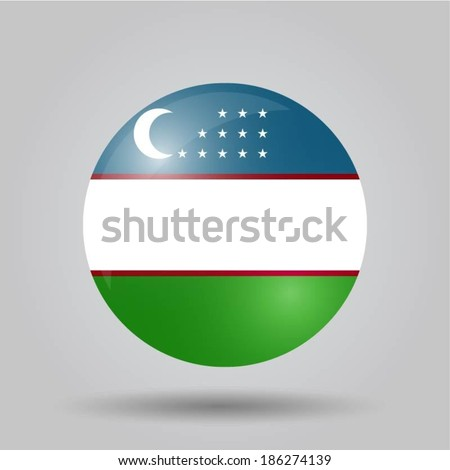 Circular flag with shadow and 3D effect, on grey background - Uzbekistan - stock vector