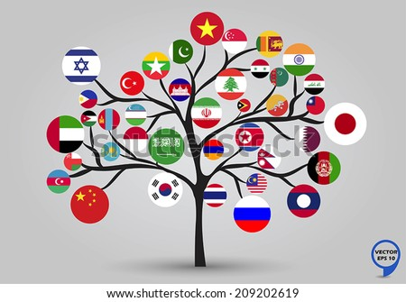 Circular flags of Asia in tree design. Vector illustration. - stock vector