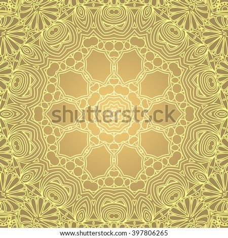 Circular floral ornament . Mandala . Ornamental background in Golden tones
