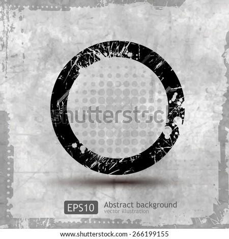 Circular Grunge Frame with drips - stock vector