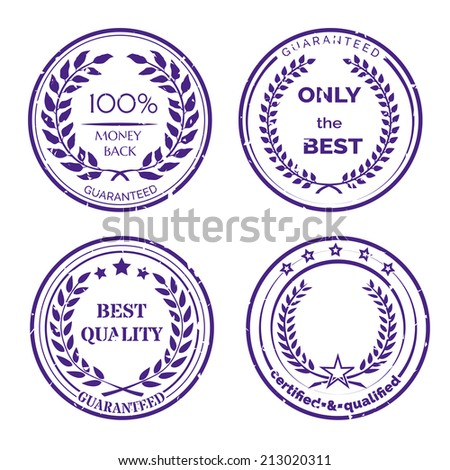 Circular Guarantee Label Set with Wreaths Isolated on White Background - stock vector