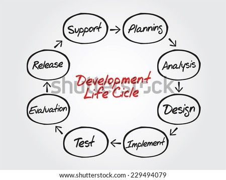 Circular Hand drawn vector flow chart of life cycle development process, diagram shapes