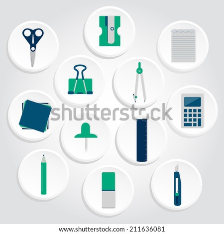 Circular icons of several office supplies as scissors, pencil, pen, compass, stiletto, calculator, ruler, paper clips, pencil sharpener, copybook, papers and pins. Icons of office supplies - stock vector