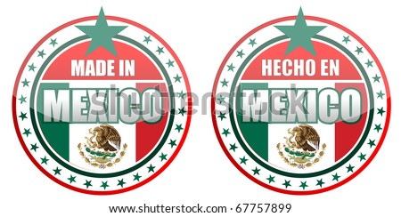 Circular illustration made in Mexico stamp isolated over a white background.