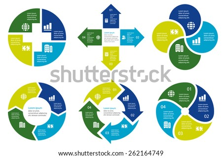 Circular infographic template for cycling diagram, graph, presentation and round chart - stock vector