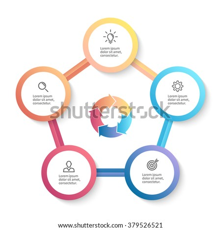 Circular infographics. Pentagon diagram with arrows. Chart, diagram with 5 steps, options, parts, processes.  - stock vector