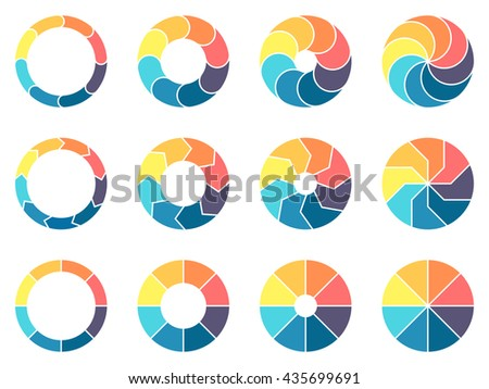 Circular infographics. Pie charts, diagrams with 8 steps, options, parts, processes. Vector design elements.