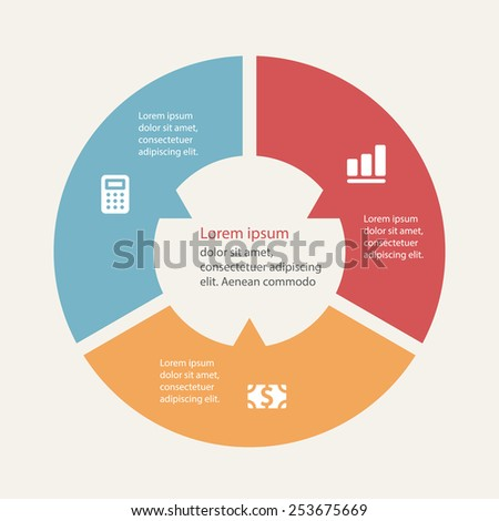 Circular infographics template for cycling diagram, graph, presentation and round chart. - stock vector