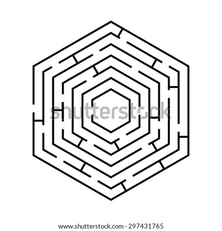 circular labyrinth in the shape of a hexagon black on white - stock vector