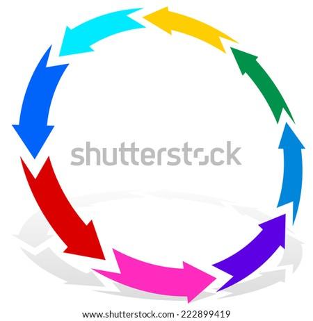 Circular, multicolor arrows - stock vector