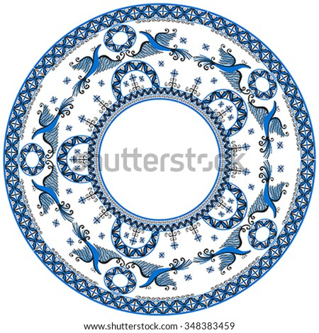 Circular ornament with decorative elements of cosmogonic traditional folk art of northern region of Russia. Mezensky blue firebirds. Illustration, vector - stock vector