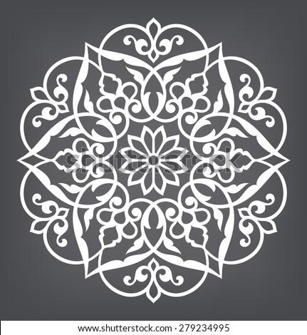 Circular pattern. Mandala. Round vector ornament. - stock vector