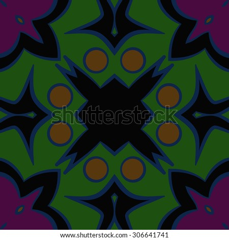 Circular   pattern of abstract motif, stripes,hole, spots, ellipse. Hand drawn.