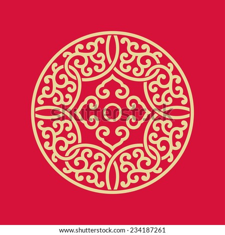 Circular pattern of Chinese style - stock vector