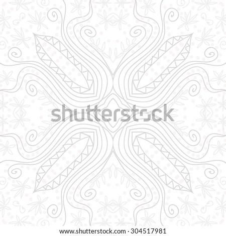 Circular   pattern of floral motif, stripes,stars, spirals, flowers, ellipses. Hand drawn.