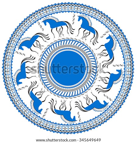Circular pattern with decorative elements of cosmogonic traditional folk art of northern region of Russia. Mezensky blue horse. Illustration, vector - stock vector