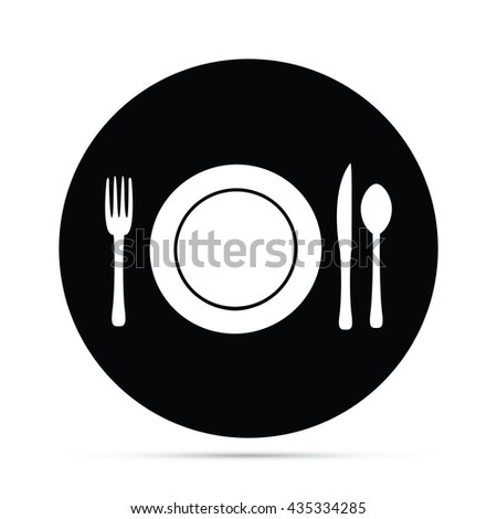 Circular Plate Setting with Fork Knife & Spoon Icon - stock vector