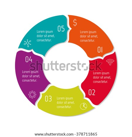 Circular progress steps for tutorial. 5 options paper infographic banner. Number banner template for diagram, presentation or chart. Business concept sequence banner. Curved arrow workflow layout. - stock vector
