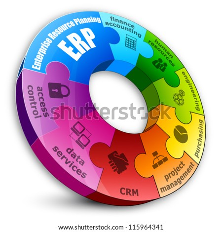 Circular puzzle. Enterprise resource planning concept. - stock vector