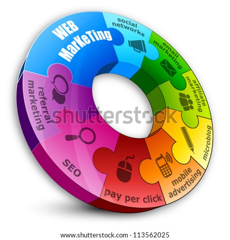 Circular puzzle, web marketing concept - stock vector