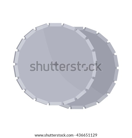Circular saw blade icon, cartoon style
