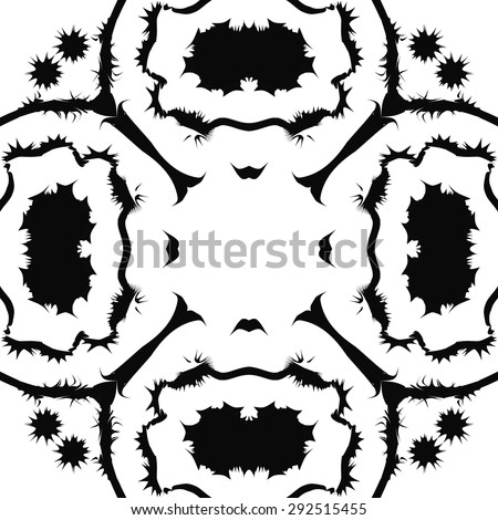 Circular seamless  pattern of decorative motif, spots, stripes, stars,  copy space. Hand drawn.