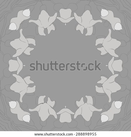 Circular seamless pattern of floral garland, spirals, hole, branches, flowers,copy space. Hand drawn.