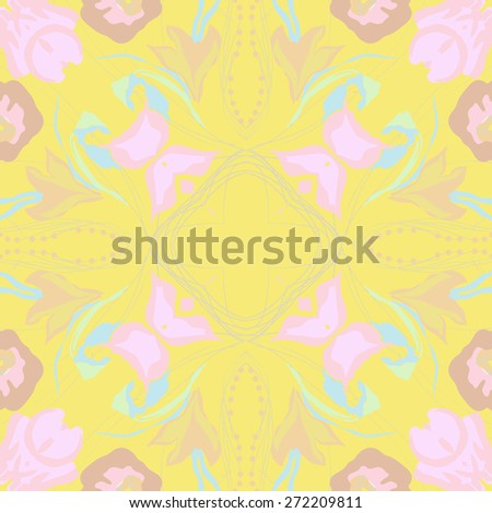 Circular seamless pattern of floral motif, branches, ellipses, leaves . Hand drawn.
