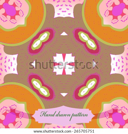 Circular seamless pattern of floral motif, doodles, ellipses, label. Hand drawn.