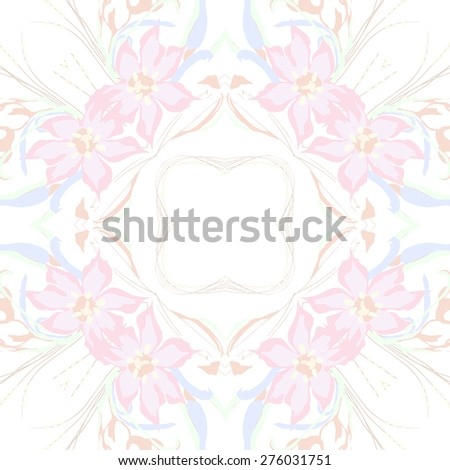 Circular seamless pattern of floral motif, flowers, leaves,branches. Hand drawn.