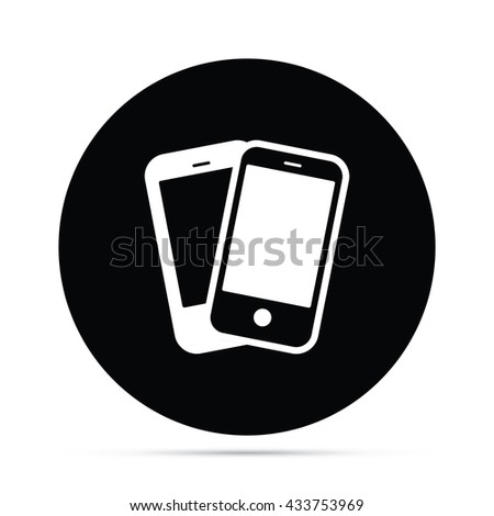 Circular Smart Phones Icon - stock vector