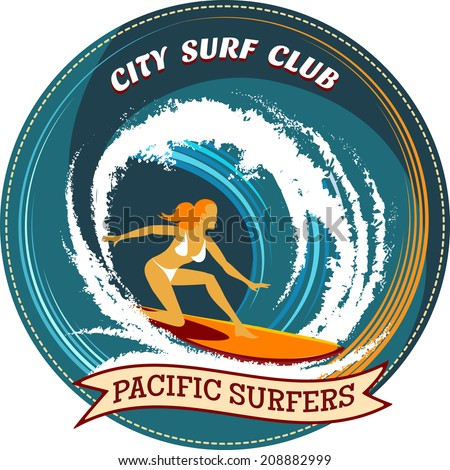 Circular surfing badge design with a girl surfing on her board inside a curling wave with the text City Surf Club and a ribbon banner with the words Pacific Surfers - stock vector