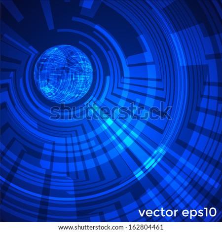 Circular technology background. Vector eps10 - stock vector