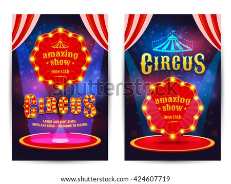 Circus amazing show poster template with light frame. Circus arena. Vector illustration - stock vector