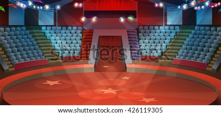 Circus arena, vector background - stock vector